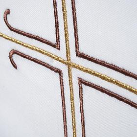 Stuła biała haftowana krzyż brązowy złoty s4