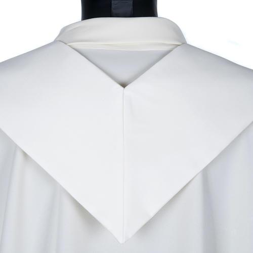Stuła biała haftowana krzyż brązowy złoty 2