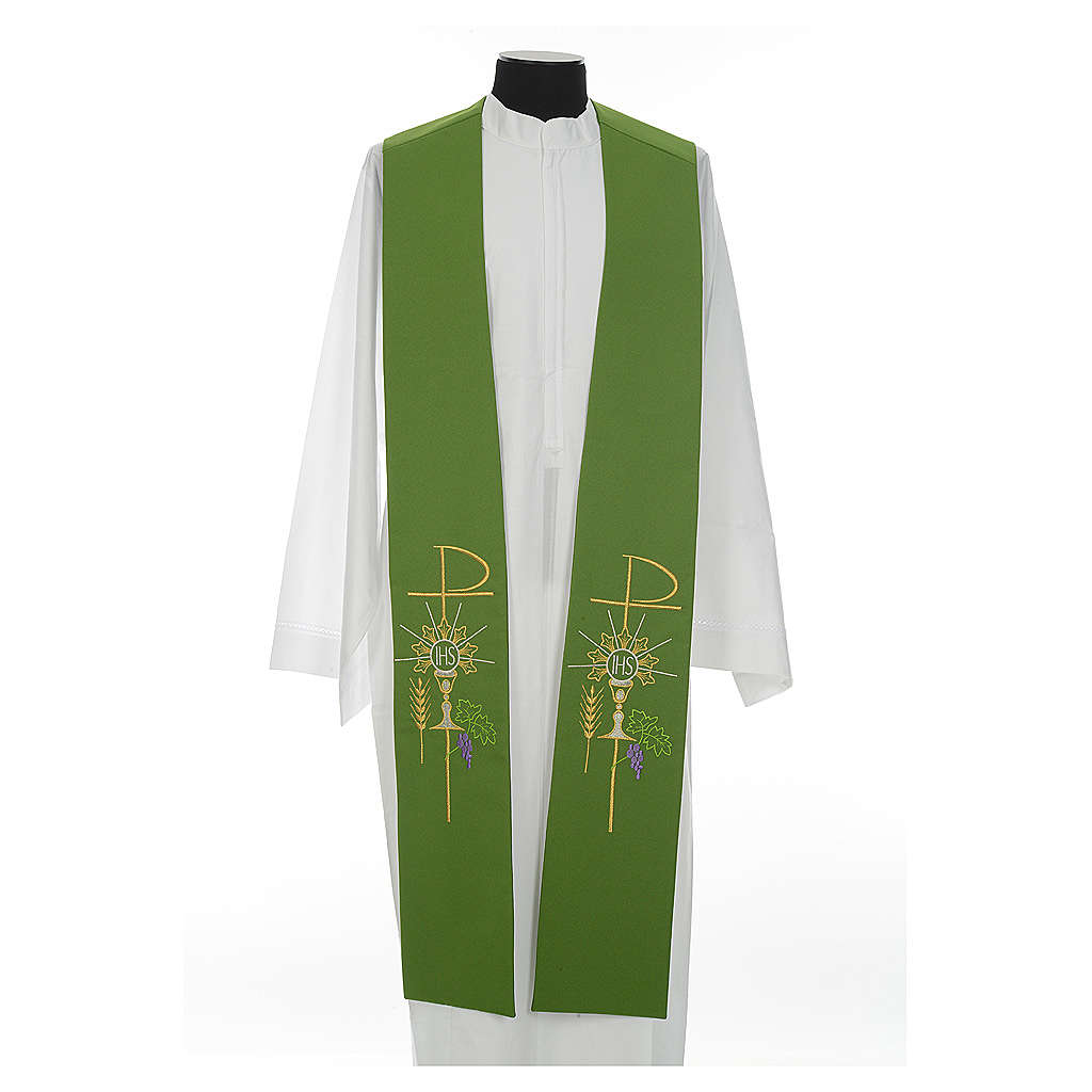 Stole in polyester with chalice, Eucharist, grapes and ear of wh 4