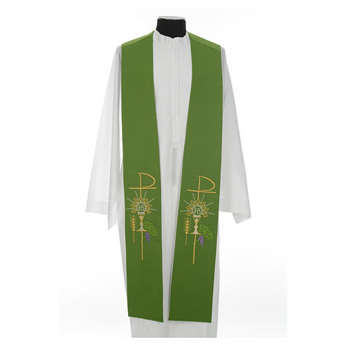 Stole in polyester with chalice, Eucharist, grapes and ear of wh 8