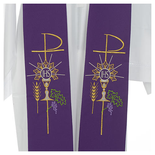 Stole in polyester with chalice, Eucharist, grapes and ear of wh 6