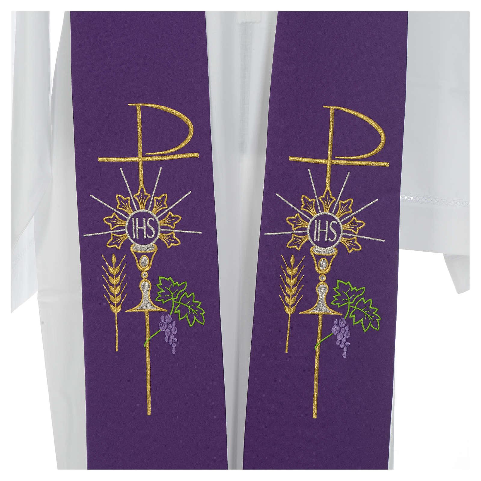 Estolão poliéster cálice Eucaristia uva trigo 4