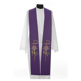 Estolão poliéster cálice Eucaristia uva trigo s11