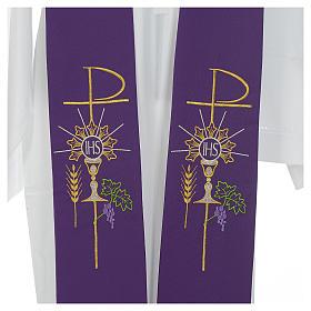Estolão poliéster cálice Eucaristia uva trigo s6
