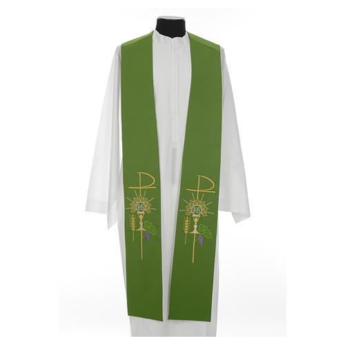 Estolão poliéster cálice Eucaristia uva trigo 8