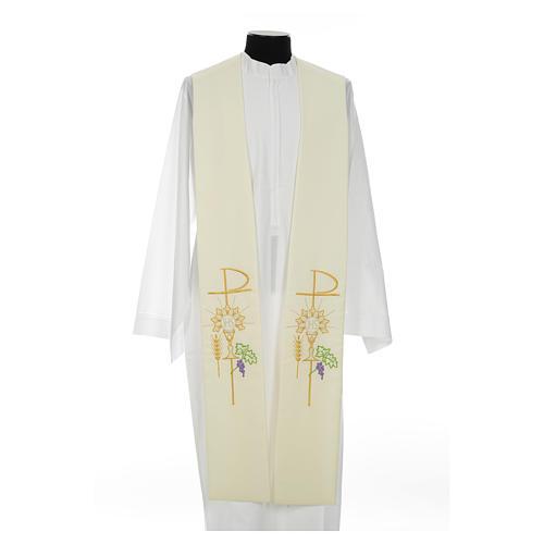 Estolão poliéster cálice Eucaristia uva trigo 10