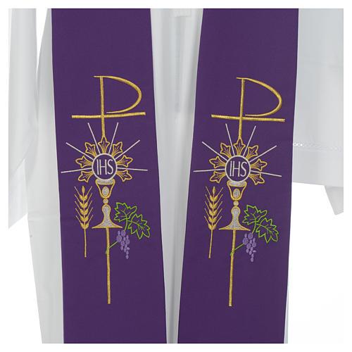Estolão poliéster cálice Eucaristia uva trigo 12