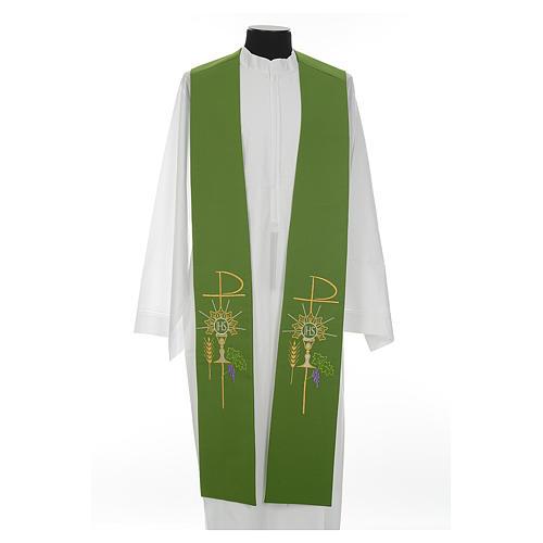 Estolão poliéster cálice Eucaristia uva trigo 2