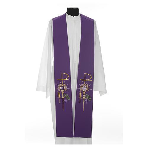 Estolão poliéster cálice Eucaristia uva trigo 5