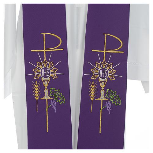 Estolão poliéster cálice Eucaristia uva trigo 6