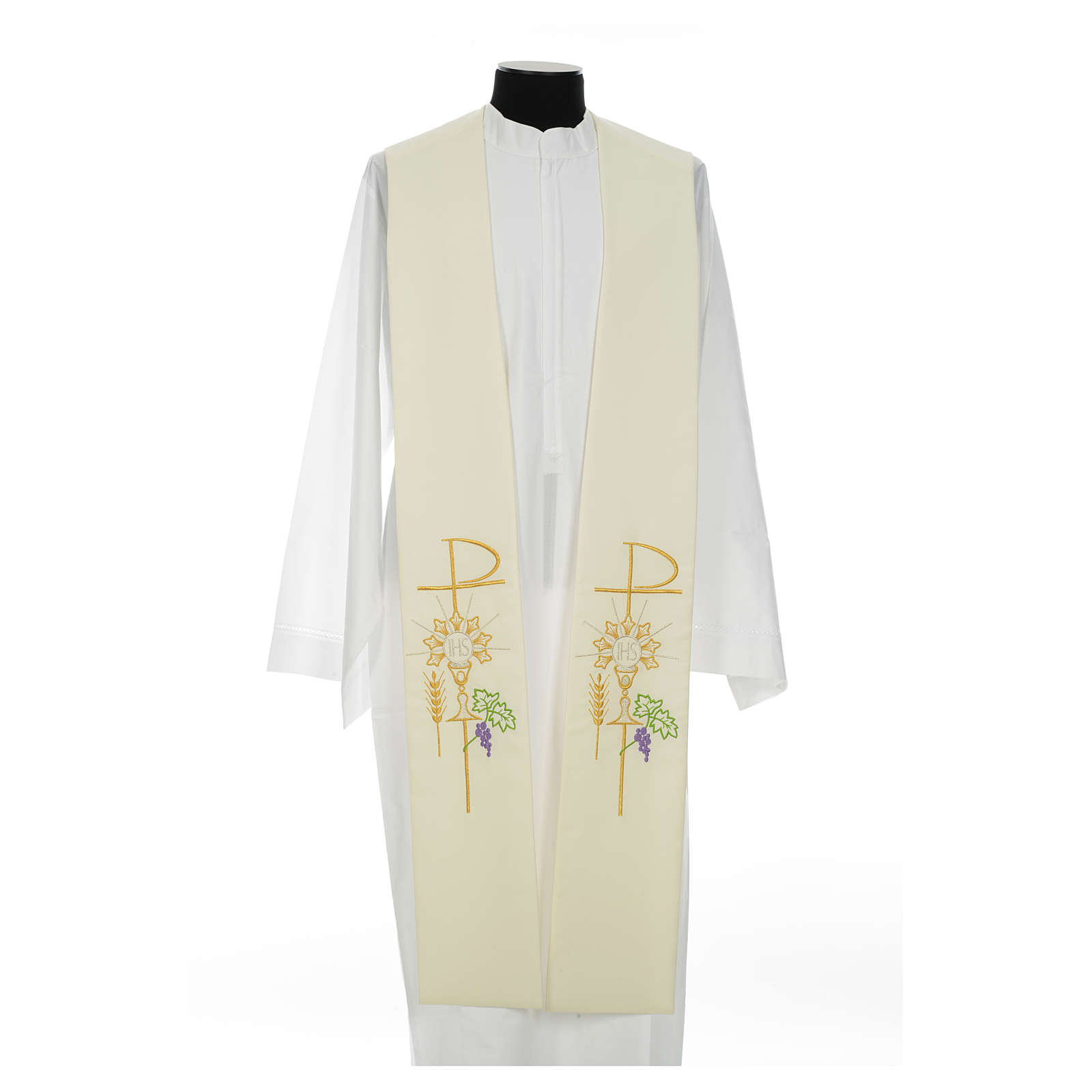 Clergy Stole in polyester with chalice, Eucharist, grapes and ear of wheat 4