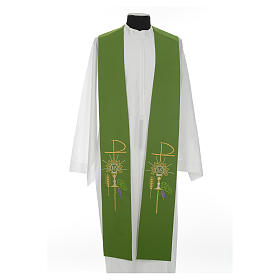 Clergy Stole in polyester with chalice, Eucharist, grapes and ear of wheat s8