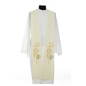 Clergy Stole in polyester with chalice, Eucharist, grapes and ear of wheat s10