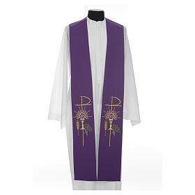 Clergy Stole in polyester with chalice, Eucharist, grapes and ear of wheat s11