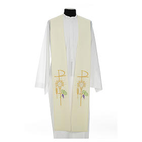 Clergy Stole in polyester with chalice, Eucharist, grapes and ear of wheat s4