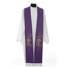 Clergy Stole in polyester with chalice, Eucharist, grapes and ear of wheat s5