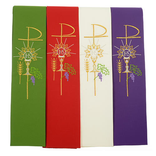 Clergy Stole in polyester with chalice, Eucharist, grapes and ear of wheat 7