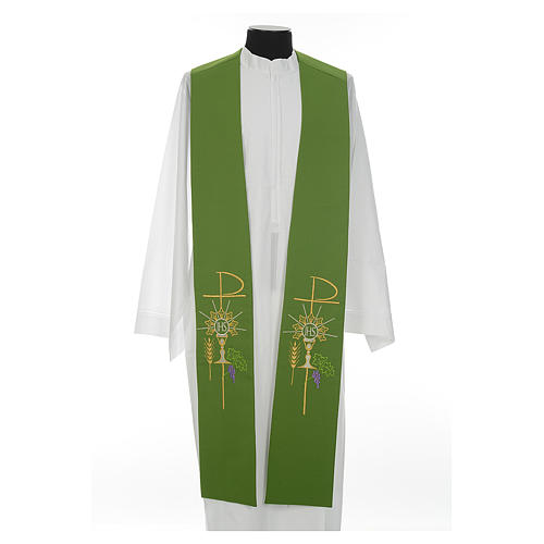 Clergy Stole in polyester with chalice, Eucharist, grapes and ear of wheat 2