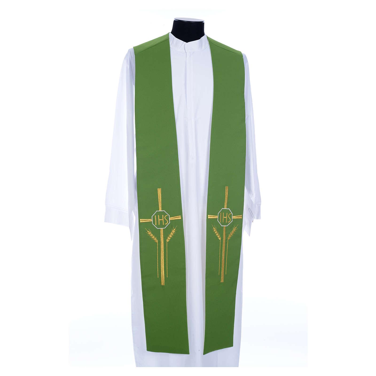 Estola bicolor blanca verde poliéster IHS espigas 4