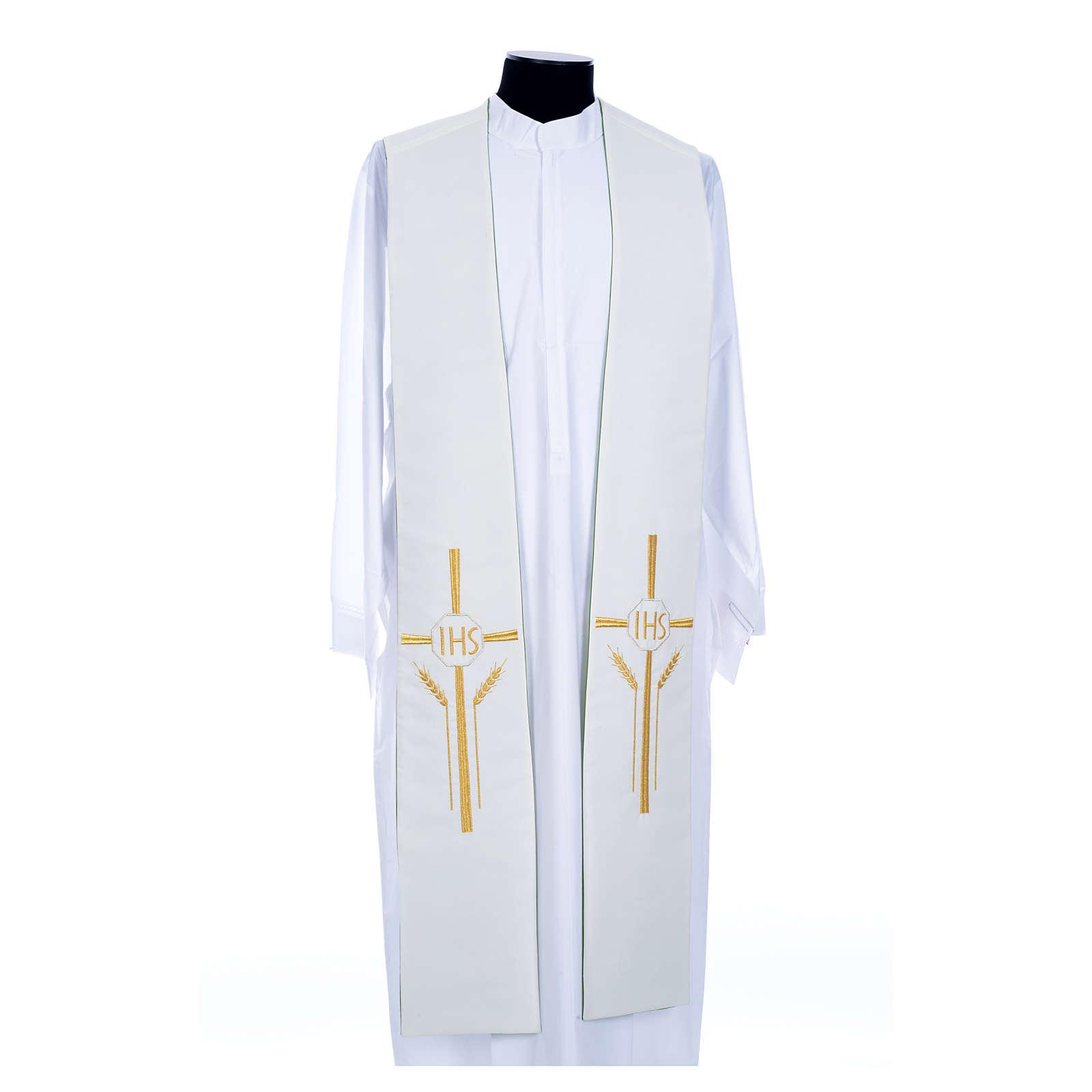 Etole liturgique double face vert blanc IHS épis polyester 4