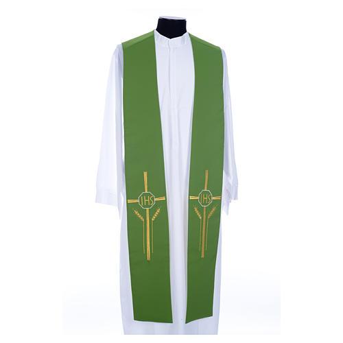 Etole liturgique double face vert blanc IHS épis polyester 1