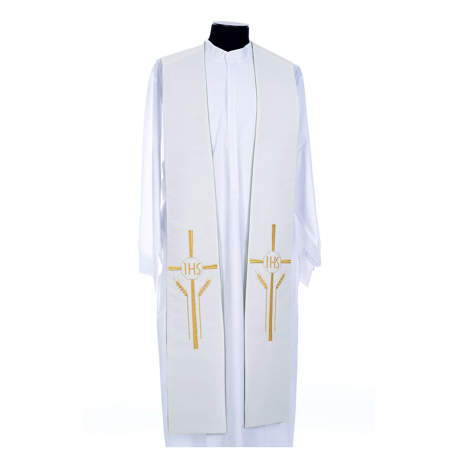 Clergy Stole in polyester, bi-colored green and white with JHS and whe 4