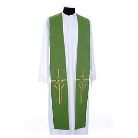 Clergy Stole in polyester, bi-colored green and white with JHS and whe s1