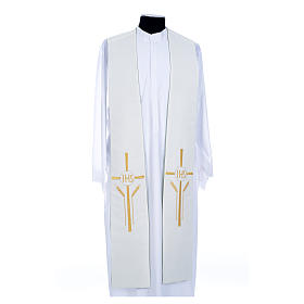 Clergy Stole in polyester, bi-colored green and white with JHS and whe s2