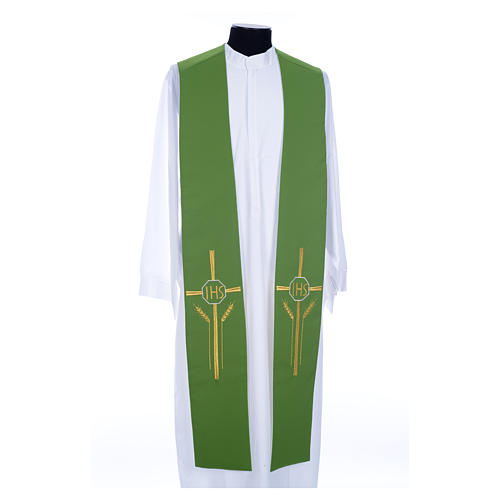 Clergy Stole in polyester, bi-colored green and white with JHS and whe 1