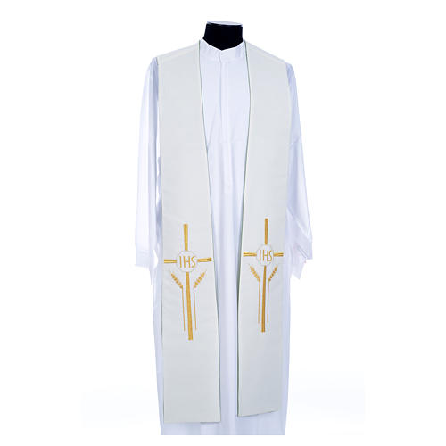 Clergy Stole in polyester, bi-colored green and white with JHS and whe 2