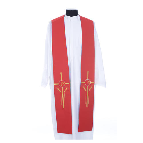 Clerical Stole in polyester, purple and red with JHS and wheat 1