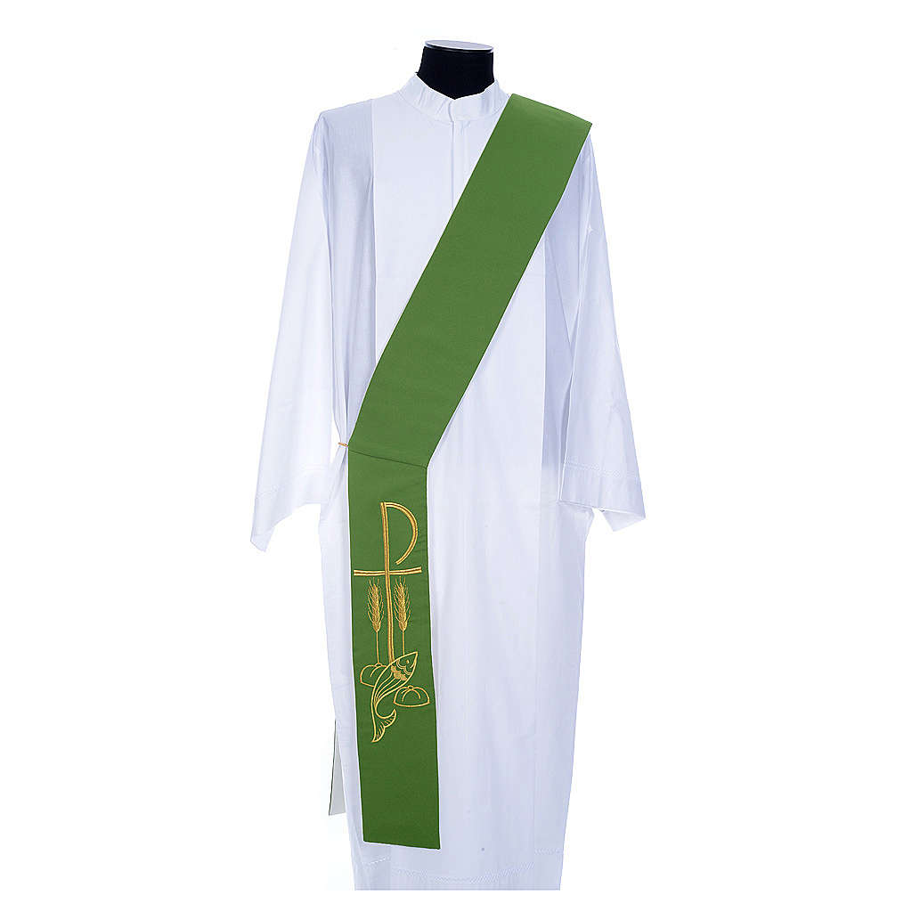 Diaconal stole in polyester, bi-coloured white, green, Chi-rho w 4