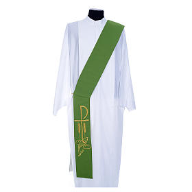 Diaconal stole in polyester, bi-coloured white, green, Chi-rho w s1