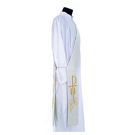 Diaconal stole in polyester, bi-coloured white, green, Chi-rho w s4