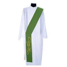 Estola de diácono bicolor branco verde poliéster Chi-Rho trigo s1
