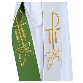 Estola de diácono bicolor branco verde poliéster Chi-Rho trigo s3