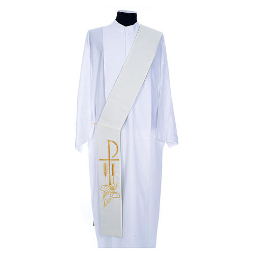 Deacon Stole in polyester, bi-colored white, green, Chi-rho w 2