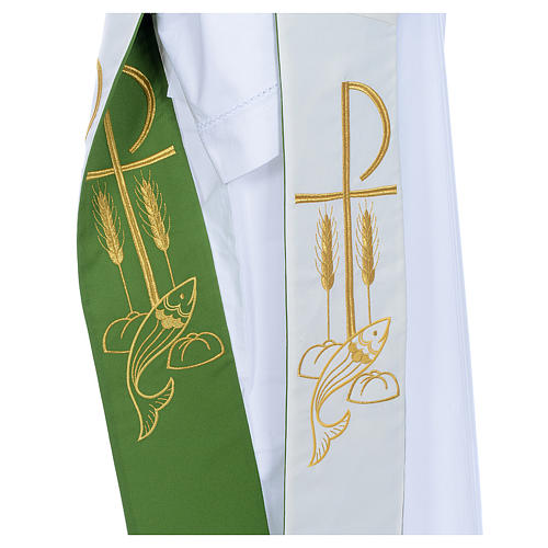 Deacon Stole in polyester, bi-colored white, green, Chi-rho w 3