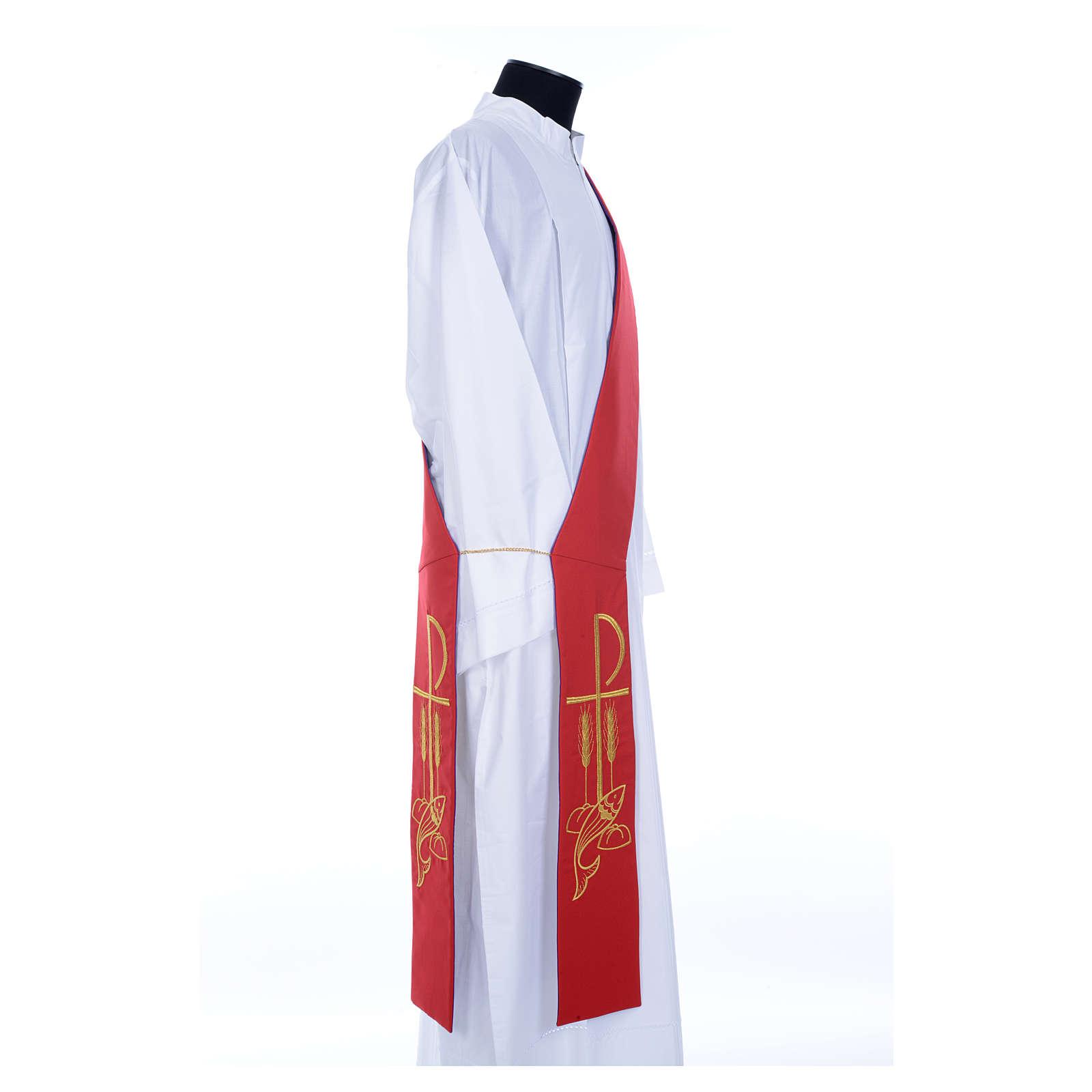 Estola diaconal bicolor roxo vermelho poliéster Chi-Rho trigo 4