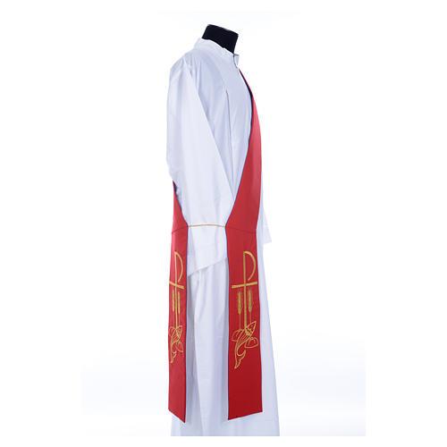 Estola diaconal bicolor roxo vermelho poliéster Chi-Rho trigo 7