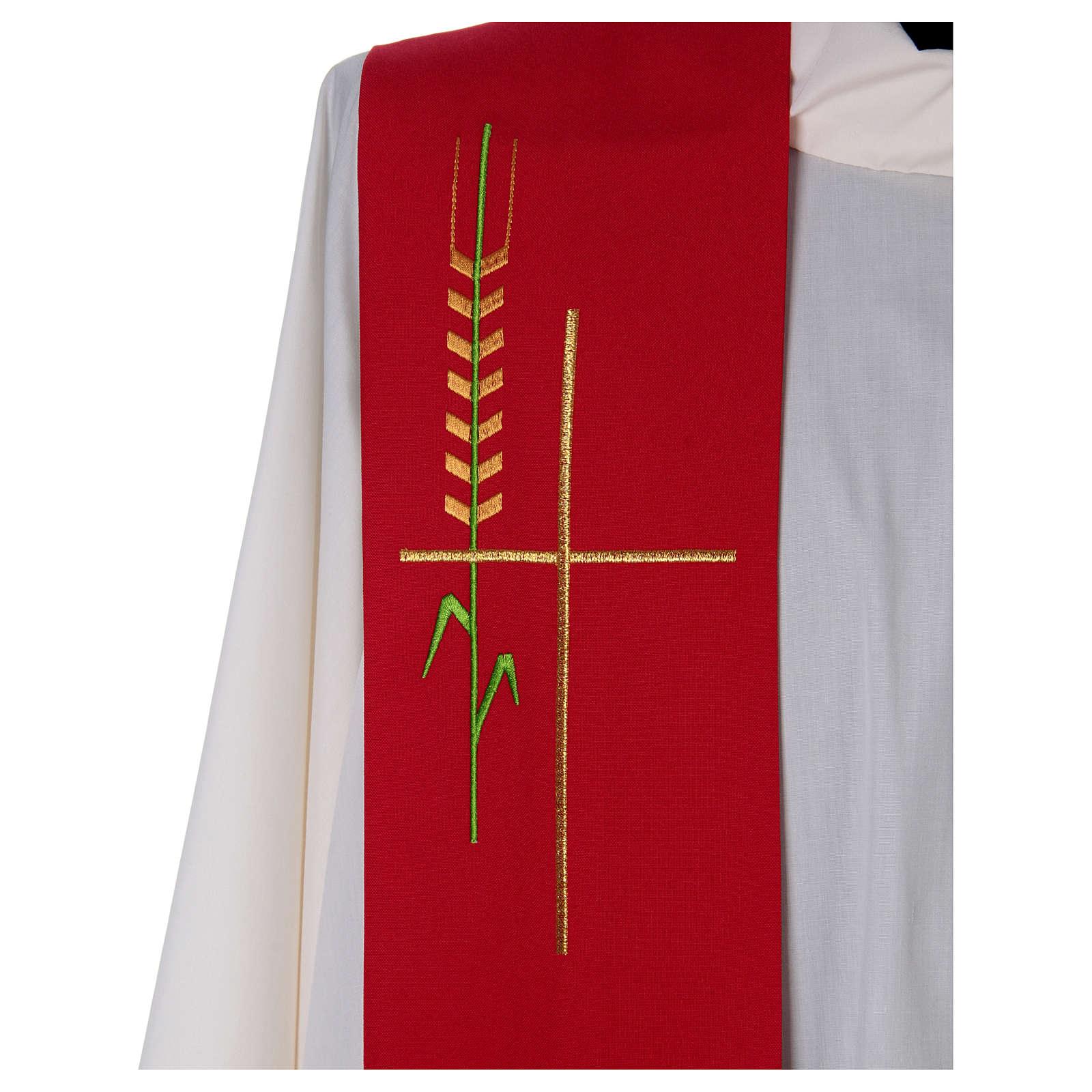 Estola uma cor trigo cruz estilizada poliéster 4