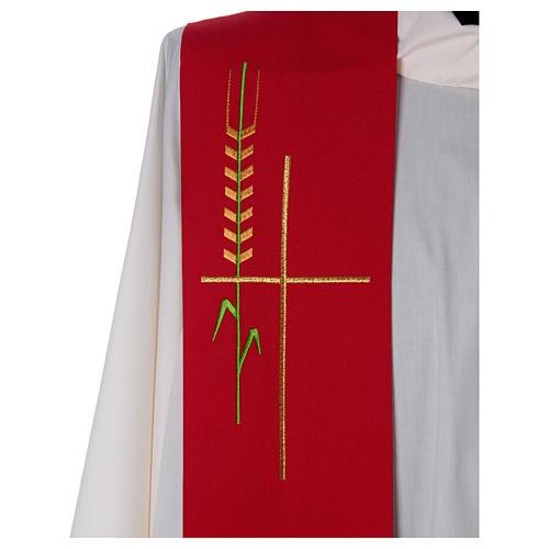 Estola uma cor trigo cruz estilizada poliéster 2