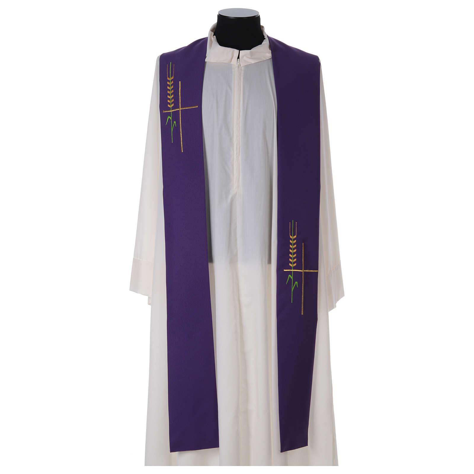 Deacon Stole in polyester, ear of wheat, stylised cross 4