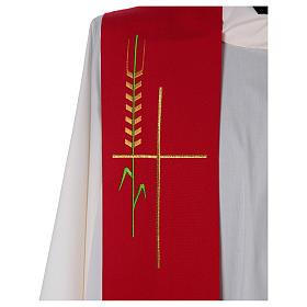 Deacon Stole in polyester, ear of wheat, stylised cross s2