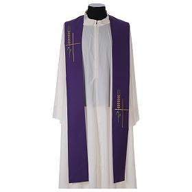 Deacon Stole in polyester, ear of wheat, stylised cross s4