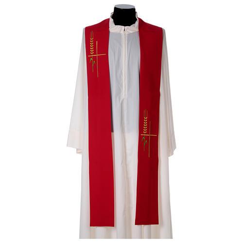 Deacon Stole in polyester, ear of wheat, stylised cross 1