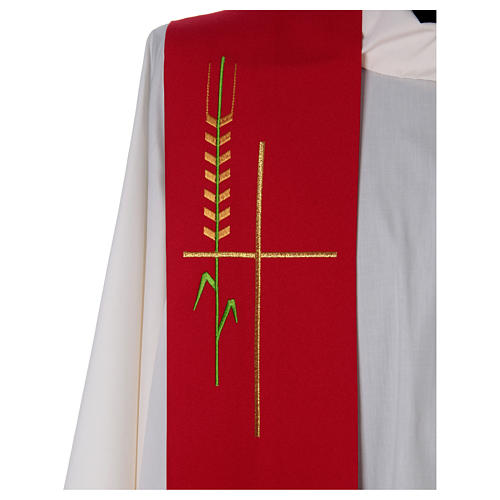 Deacon Stole in polyester, ear of wheat, stylised cross 2