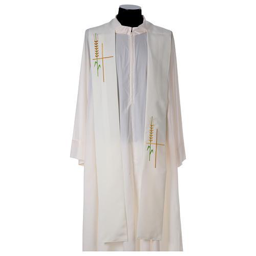 Deacon Stole in polyester, ear of wheat, stylised cross 3
