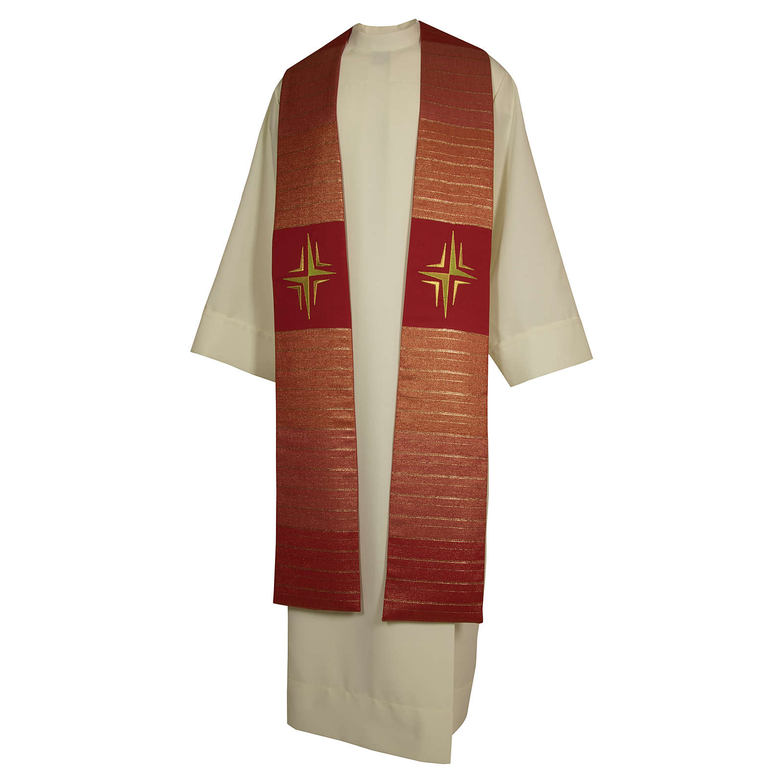 Clergy Stole in pure wool, stylized cross, double twisted yarn 4