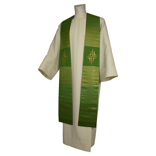 Clergy Stole in pure wool, stylized cross, double twisted yarn 1